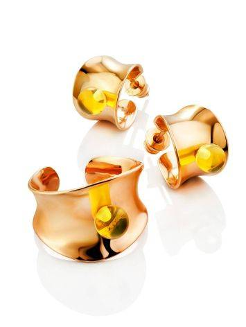 Fashionable Rose Plated Silver Amber Ring The Palazzo Collection, Ring Size: Adjustable, image , picture 5