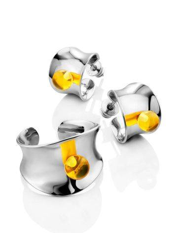 Sterling Silver Amber Stud Earrings The Palazzo, image , picture 3
