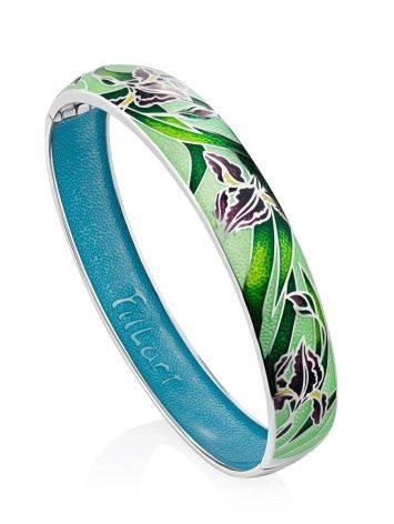 Silver Enamel Iris Motif Bangle Bracelet, image