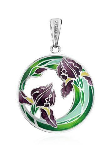 Silver Enamel Iris Motif Pendant, image