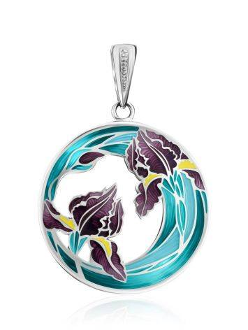 Silver Enamel Floral Design Pendant, image