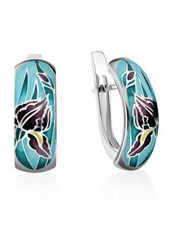 Iris Motif Silver Enamel Earrings, image