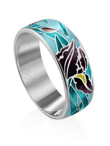 Silver Enamel Floral Band Ring, Ring Size: 9 / 19, image