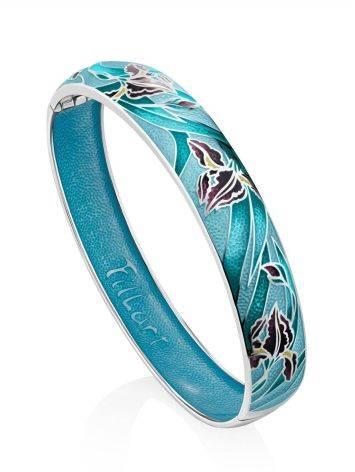 Silver Enamel Floral Motif Bangle Bracelet, image