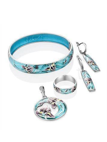 Silver Enamel Floral Motif Bangle Bracelet, image , picture 5