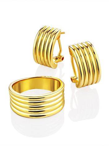 Chunky Gilded Silver Half Hoop Earrings The ICONIC, image , picture 4