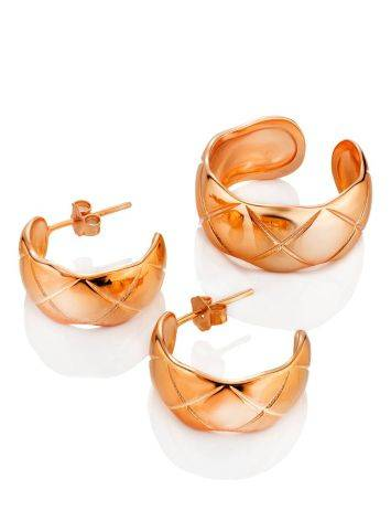 Harlequin Motif Rose Gold Plated Silver Earrings The ICONIC, image , picture 3