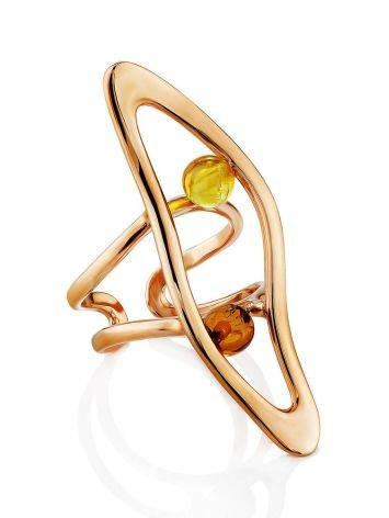 Bright Rose Gold Plated Amber Ring The Palazzo, Ring Size: Adjustable, image