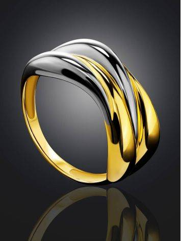 Sleek Gilded Silver Ring, Ring Size: 8.5 / 18.5, image , picture 2