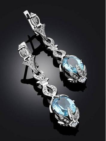 Ultra Feminine Silver Topaz Dangle Earrings, image , picture 2