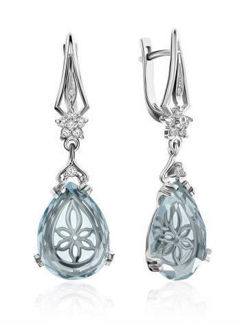 Chic Blue Quartz Drop Earrings, image