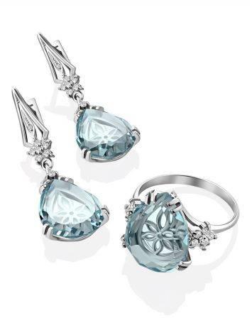 Light Blue Quartz Ring, Ring Size: 8 / 18, image , picture 4
