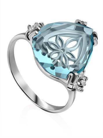 Light Blue Quartz Ring, Ring Size: 8 / 18, image
