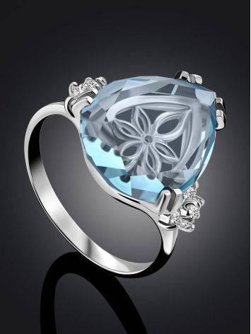 Light Blue Quartz Ring, Ring Size: 8 / 18, image , picture 2