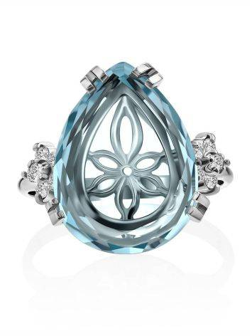 Light Blue Quartz Ring, Ring Size: 8 / 18, image , picture 3