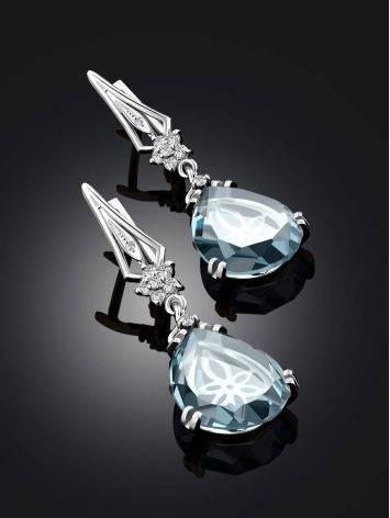 Chic Blue Quartz Drop Earrings, image , picture 2