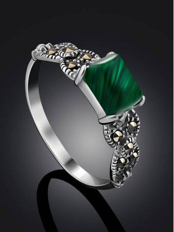Chic Silver Malachite Ring With Marcasites, Ring Size: 9.5 / 19.5, image , picture 2