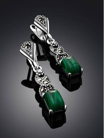 Refined Silver Malachite Dangle Earrings With Marcasites The Lace, image , picture 2