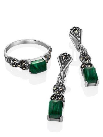 Chic Silver Malachite Ring With Marcasites, Ring Size: 9.5 / 19.5, image , picture 4