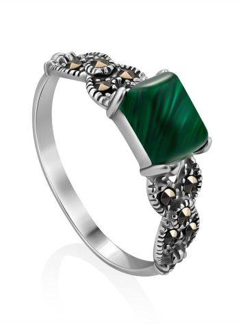 Chic Silver Malachite Ring With Marcasites, Ring Size: 9.5 / 19.5, image