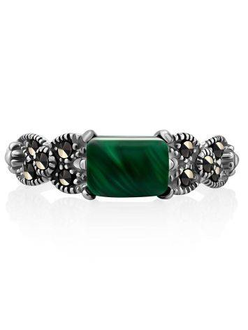 Chic Silver Malachite Ring With Marcasites, Ring Size: 9.5 / 19.5, image , picture 3