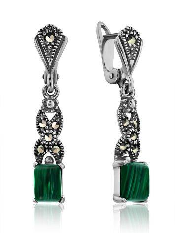 Refined Silver Malachite Dangle Earrings With Marcasites The Lace, image