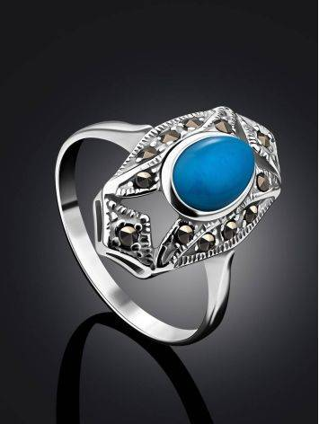 Magnificent Silver Turquoise Ring With Marcasites The Lace, Ring Size: 8.5 / 18.5, image , picture 2