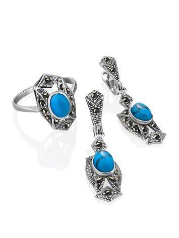 Magnificent Silver Turquoise Ring With Marcasites The Lace, Ring Size: 8.5 / 18.5, image , picture 4