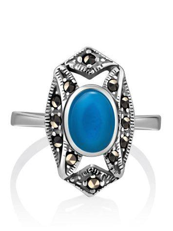 Magnificent Silver Turquoise Ring With Marcasites The Lace, Ring Size: 8.5 / 18.5, image , picture 3
