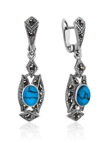 Chic Silver Turquoise Dangle Earrings The Lace, image