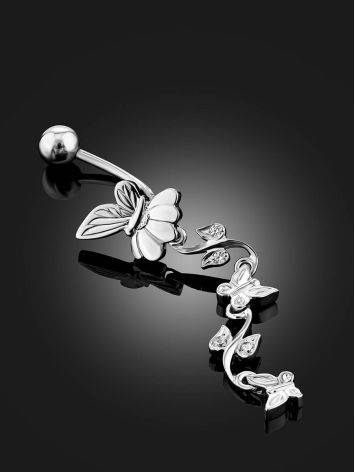 Butterfly Motif Silver Crystal Navel Piercing, image , picture 2