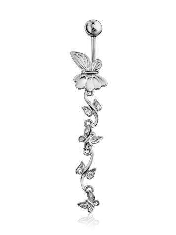 Butterfly Motif Silver Crystal Navel Piercing, image