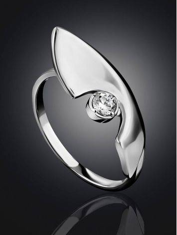 Futuristic Design Silver Crystal Ring, Ring Size: 7 / 17.5, image , picture 2