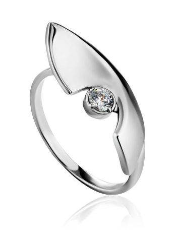 Futuristic Design Silver Crystal Ring, Ring Size: 7 / 17.5, image