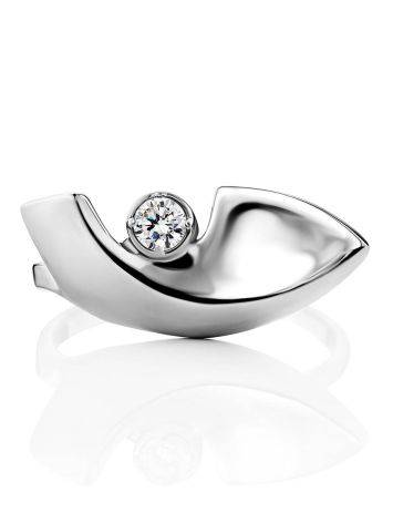 Futuristic Design Silver Crystal Ring, Ring Size: 7 / 17.5, image , picture 3
