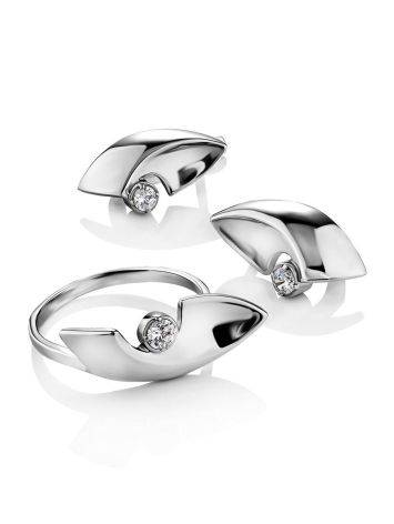 Futuristic Design Silver Crystal Earrings, image , picture 3