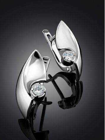 Futuristic Design Silver Crystal Earrings, image , picture 2