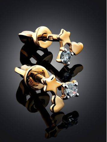 Lovely Gold Crystal Stud Earrings, image , picture 2