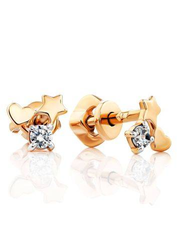Lovely Gold Crystal Stud Earrings, image