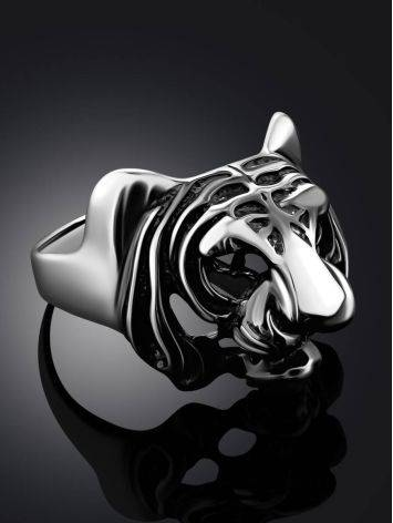 Bold Tiger Motif Silver Men's Ring, Ring Size: 12 / 21.5, image , picture 2