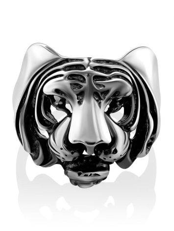 Bold Tiger Motif Silver Men's Ring, Ring Size: 12 / 21.5, image , picture 3