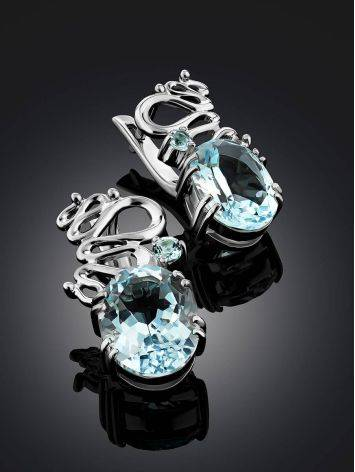 Intricate Design Silver Topaz Earrings, image , picture 2