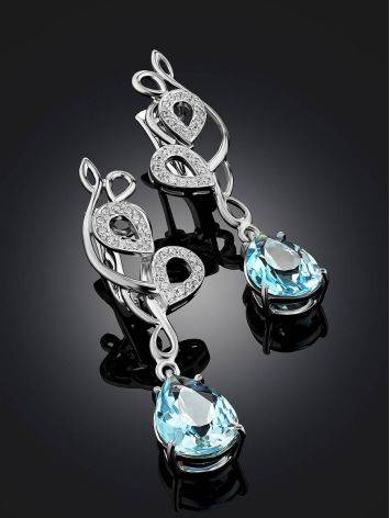 Stunning Silver Topaz Drop Earrings, image , picture 2