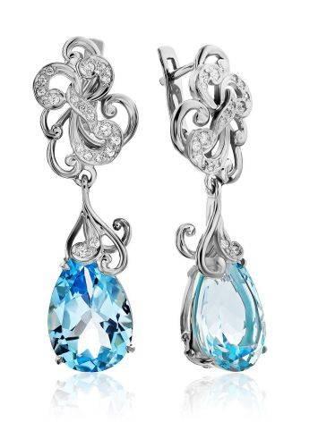 Shimmering Silver Topaz Drop Earrings, image
