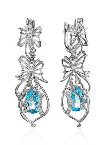 Exquisite Silver Topaz Dangle Earrings, image