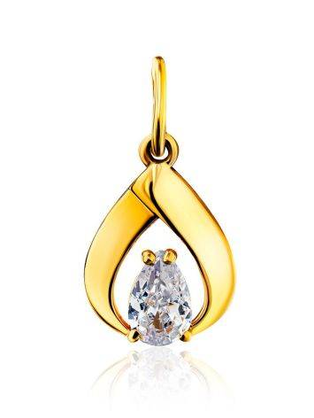 Drop Shaped Gilded Silver Crystal Pendant, image
