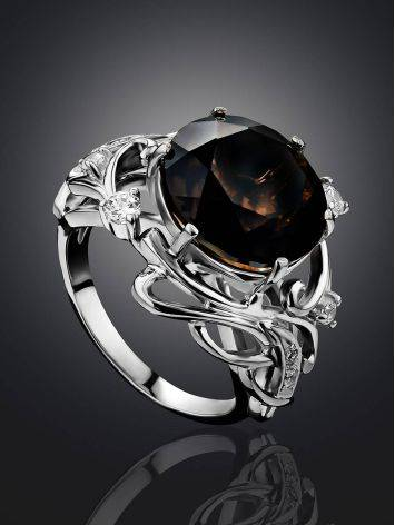Chic Silver Smoky Quartz Cocktail Ring, Ring Size: 6.5 / 17, image , picture 2