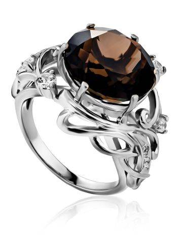 Chic Silver Smoky Quartz Cocktail Ring, Ring Size: 6.5 / 17, image