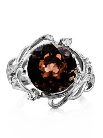Chic Silver Smoky Quartz Cocktail Ring, Ring Size: 6.5 / 17, image , picture 3