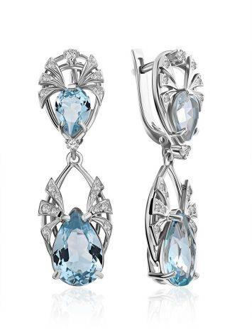 Classy Silver Topaz Drop Earrings, image